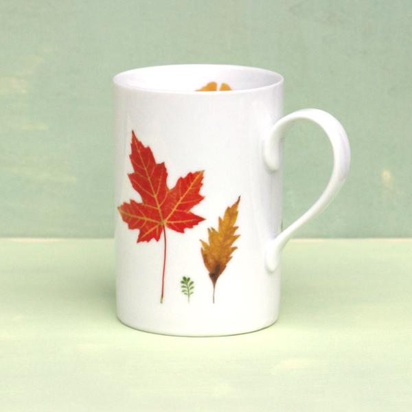 """Becher gerade Porzellan """"Herbstlaub"""""""